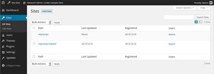Sitios en un WordPress multisite